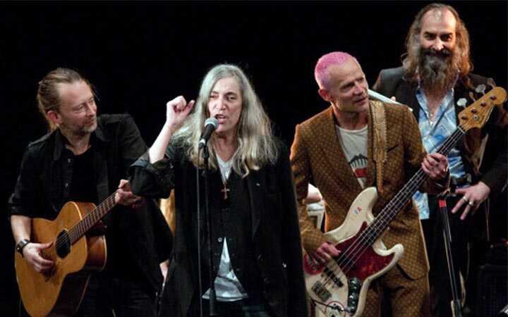 Thom Yorke, Patti Smith e Flea (Crédito: reprodução)